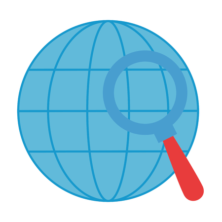 sphere planet with magnifying glass vector illustration design Illustration