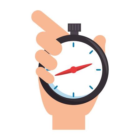 hand met chronometer timer vector illustratie ontwerp