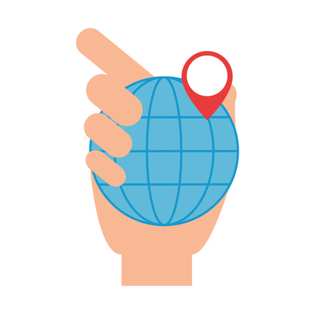 hand lifting sphere planet with pin location vector illustration design