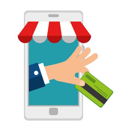 smartphone with parasol and credit card vector illustration design Foto de archivo - 110303330
