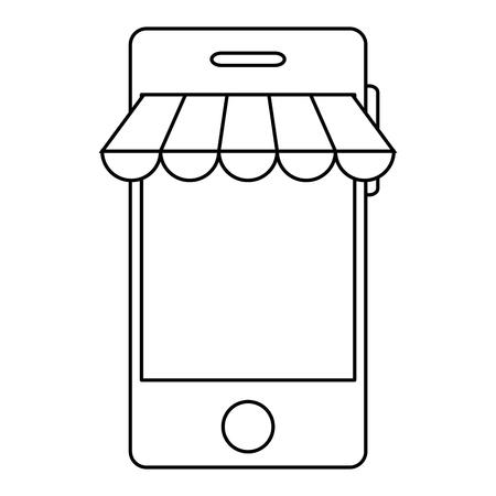 smartphone with parasol icon vector illustration design 向量圖像