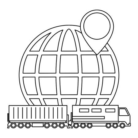 cargo train with planet logistic service vector illustration design Ilustrace