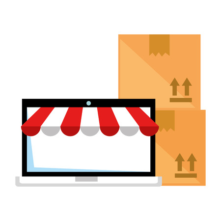 laptop with parasol and carton boxes vector illustration design Illustration