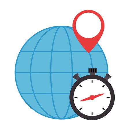 chronometer timer with planet vector illustration design 向量圖像