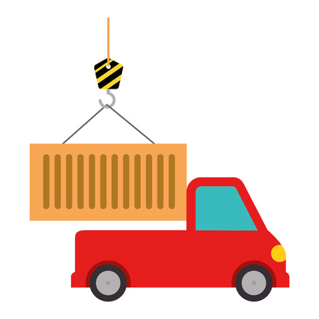 truck with crane hook and container vector illustration design Banque d'images - 110303381