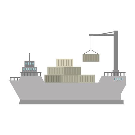 cargo ship with crane vector illustration design