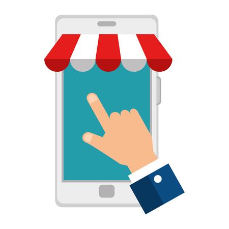 hand using smartphone with parasol icon vector illustration design Illustration