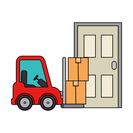 forklift vehicle with boxes and door vector illustration design