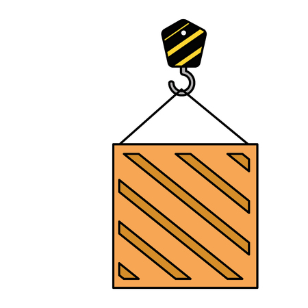 wooden box with crane hook delivery service vector illustration design