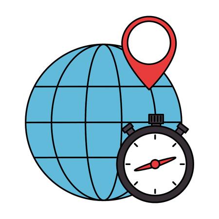 chronometer timer with planet vector illustration design  イラスト・ベクター素材