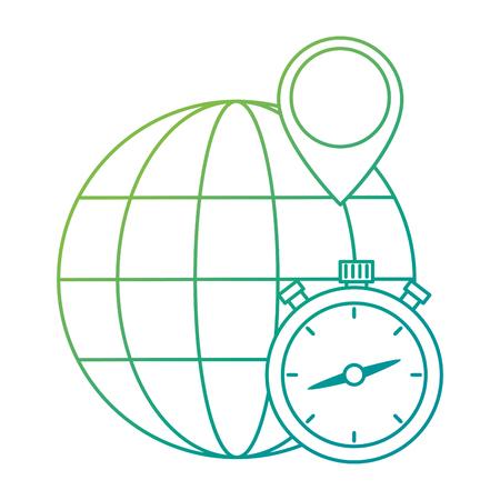 chronometer timer with planet vector illustration design Illustration