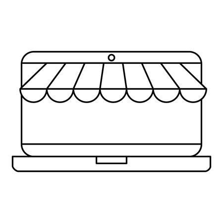 laptop with parasol icon vector illustration design Illustration