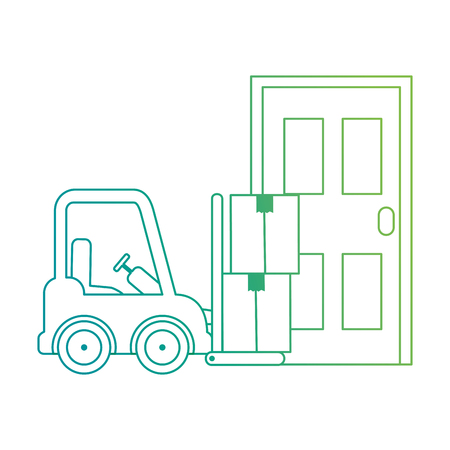 forklift vehicle with boxes and door vector illustration design Foto de archivo - 110303454