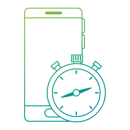 chronometer timer with smartphone vector illustration design