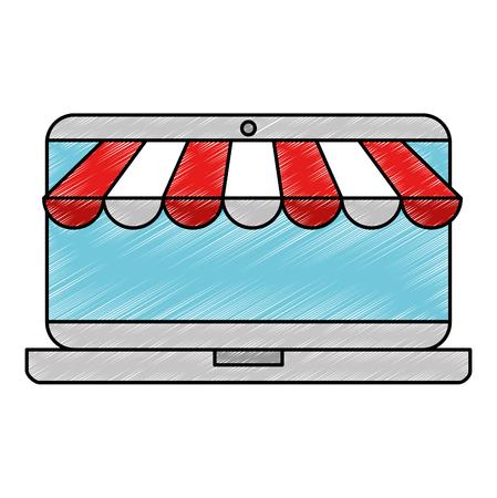 laptop with parasol icon vector illustration design Illusztráció