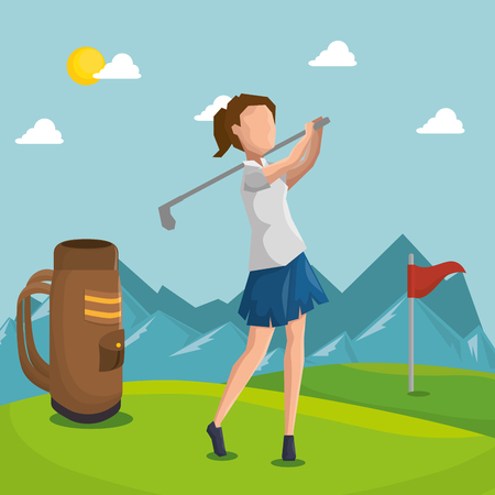 woman golfer playing in golf club vector illustration design