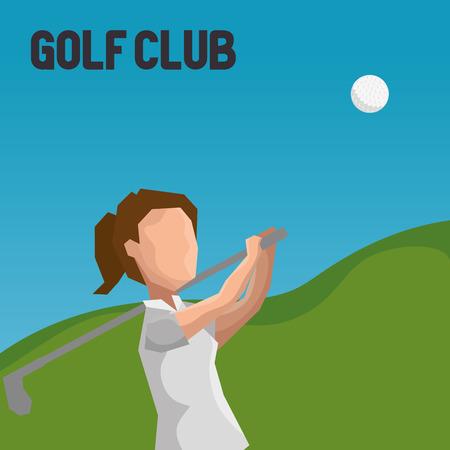 woman golfer playing in golf club vector illustration design