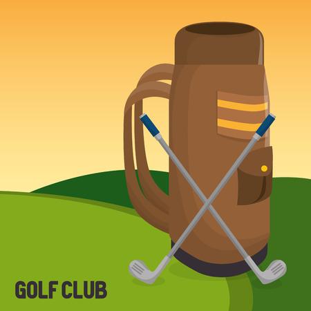 golf sport club with caddy bag vector illustration design