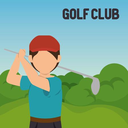 golfer playing in golf club vector illustration design