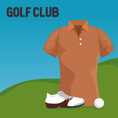 golf sport club with uniform shirt vector illustration design Illustration