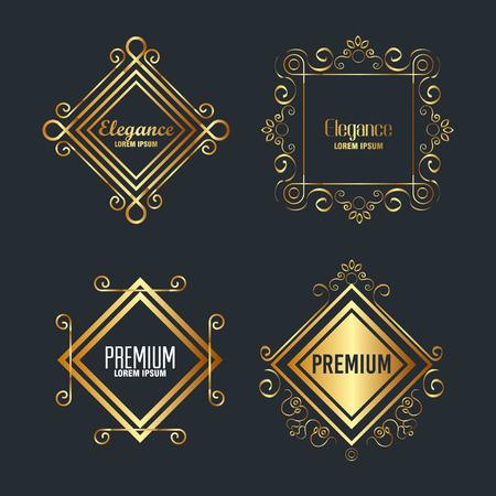 Premium y elegancia establecer marcos diseño de ilustraciones vectoriales Ilustración de vector