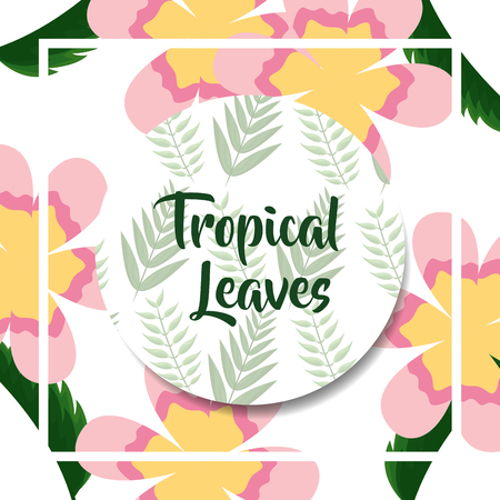 exotic flowers branches botanical label tropical leaves vector illustration