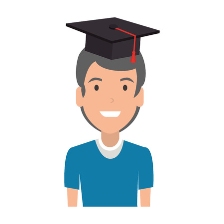 young man student with hat graduation vector illustration design Illustration