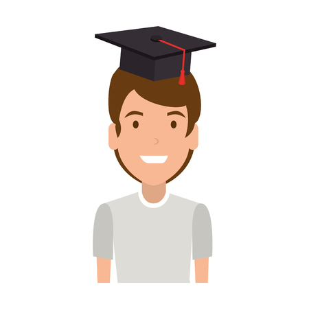 young man student with hat graduation vector illustration design Stock Illustratie