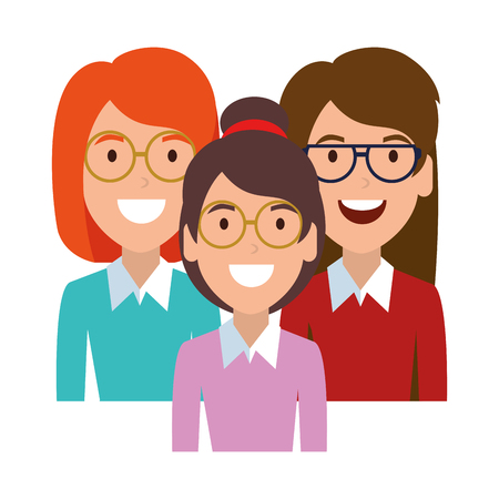 beautiful women with glasses characters vector illustration design