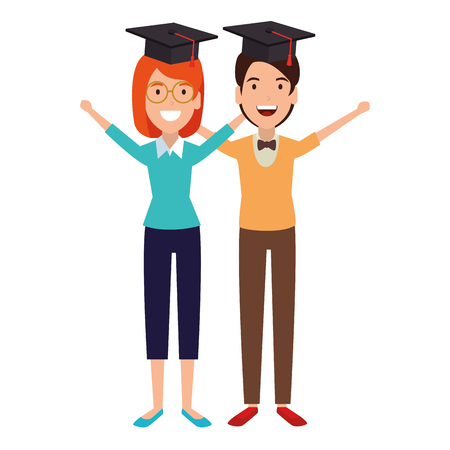 couple of students celebrating with hat graduation vector illustration