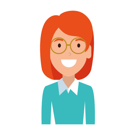 beautiful woman with glasses character vector illustration design Illustration