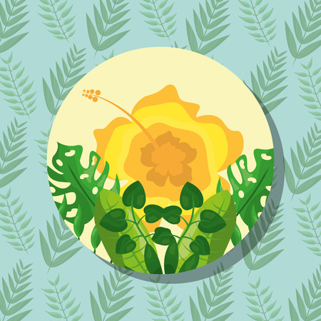 tropical leaves round banner yellow flower branches background vector illustration