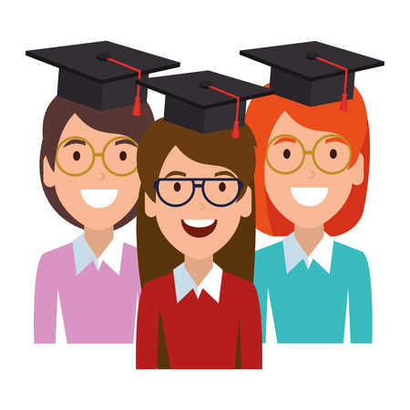 young women students with hat graduation vector illustration design Illustration