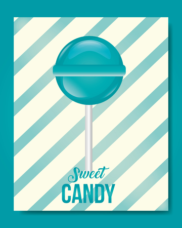 sweet candy frame stripes mint lollipop vector llustration