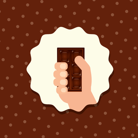 sweet candy sticker hand holding chocolate bar vector illustration