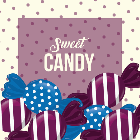 sweet candy wrapped caramels flavors dotted background vector illustration