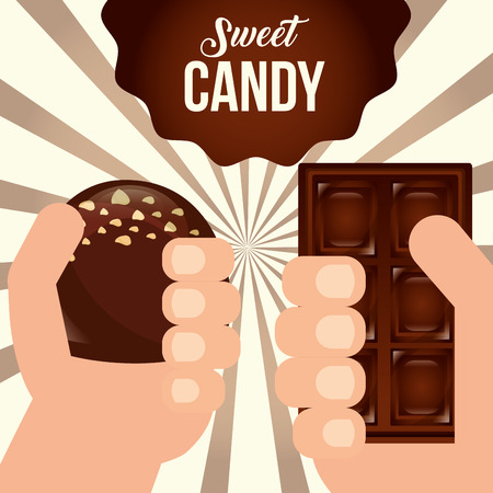 sweet candy hands holding chocolate bar macaron ribbon sign vector illustration