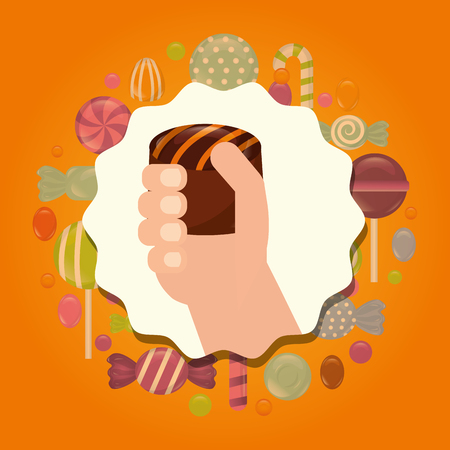 sweet candy sticker hand holding stuffed chocolate vector illustration