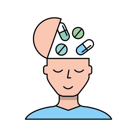 portrait man medication mental health care vector illustration