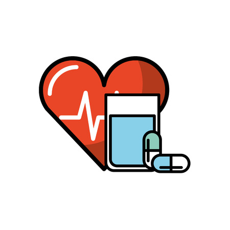 heart rate water glass and capsule medical vector illustration
