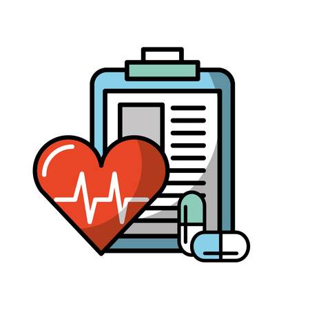 clipboard medical report heart rate and pills vector illustration