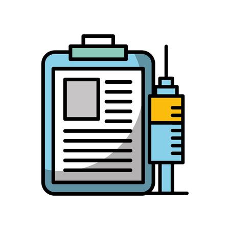 clipboard medical report and syringe vector illustration