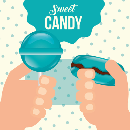 sweet candy hands holding lollipop macaron mints vector illustration Illustration
