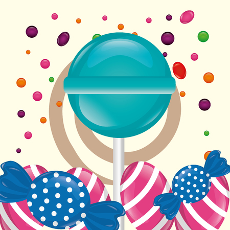 sweet candy mint lollipop caramels chips background vector illustration