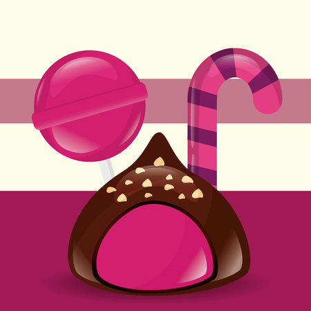 sweet candy macaron chocolate strawberry lollipop vector illustration