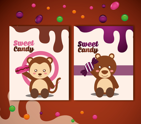 sweet candy banners monkey bear holding caramels chips vector illustration
