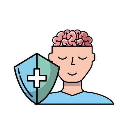 human portrait man brain mental healthcare vector illustration