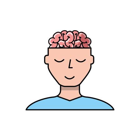 man character mental brain medicine vector illustration