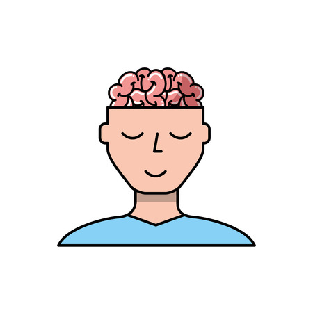 man character mental brain medicine vector illustration