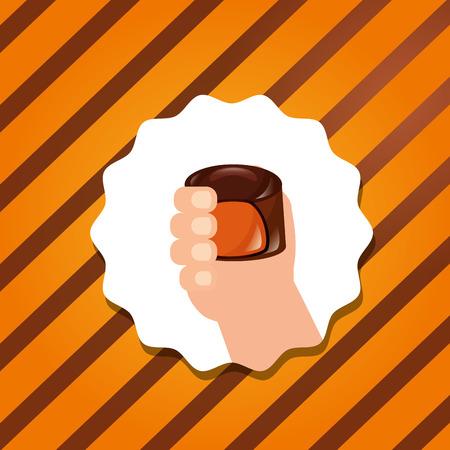 sweet candy sticker hand holding chocolate macaron caramel vector illustration Illustration